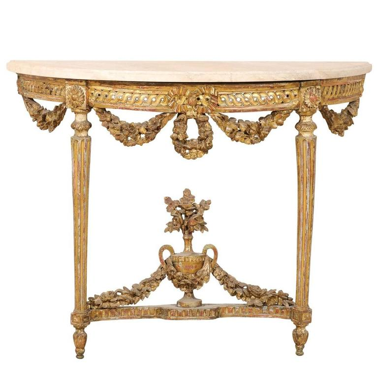Early 19th Century Giltwood Italian White Marble Top Console Table