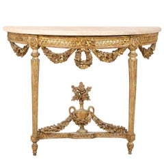 Early 19th C. Italian Gilt & Carved-Wood Demi Console Table with Marble Top