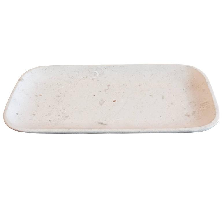 Travertine Oval Tray, Mexico, Contemporary For Sale