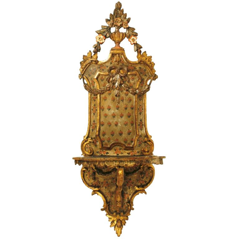 Venetian Gilded and Painted Wall Shelf with Original Paint, 18th Century