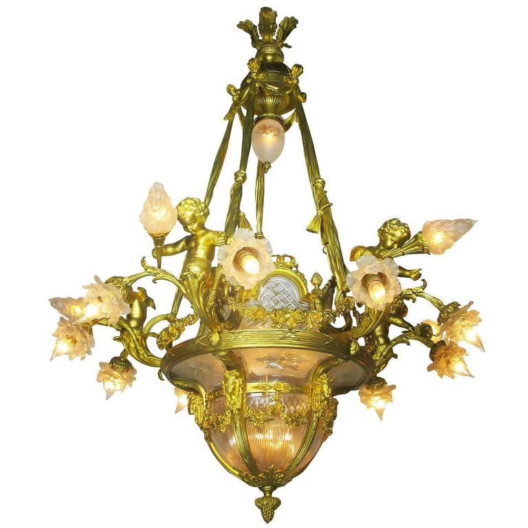 Fine French 19th-20th Century Louis XV Style Gilt Bronze and Baccarat Chandelier For Sale