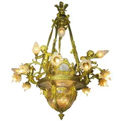 Fine French 19th-20th Century Louis XV Style Gilt Bronze and Baccarat Chandelier