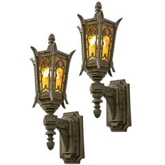 Extra Large Bronze Entry Sconces, circa 1920s