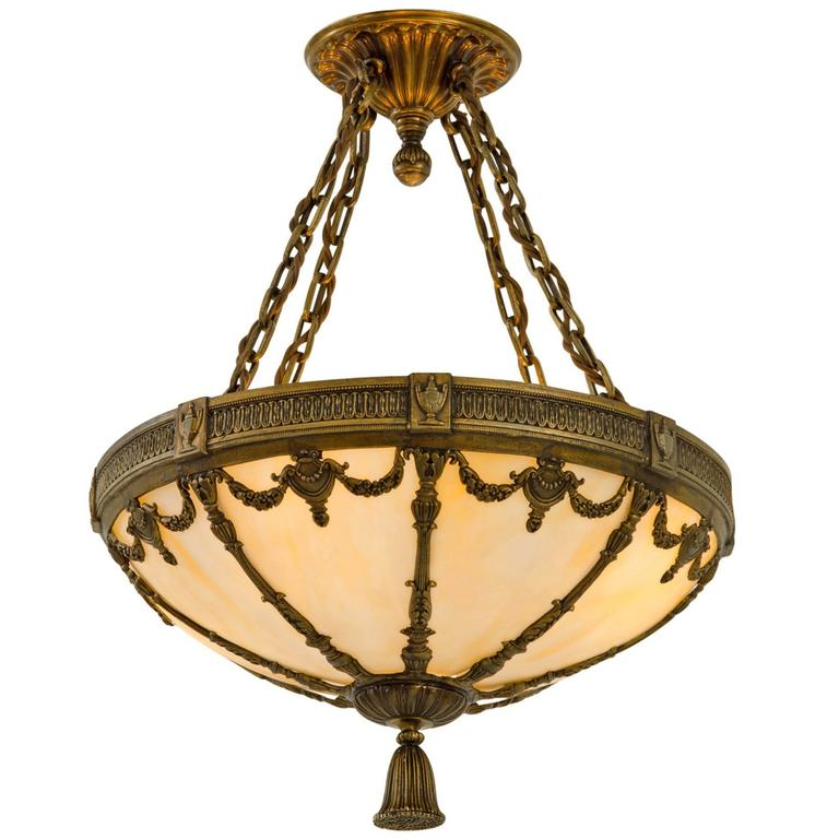 Classical Revival Bowl Chandelier With Art Glass Circa