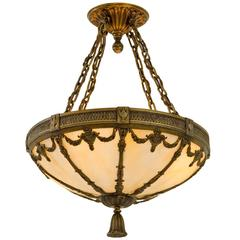 Classical Revival Bowl Chandelier with Art Glass, circa 1920