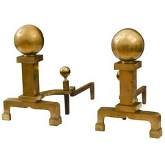 Impressive Brass Andirons by Rostand, circa 1830s