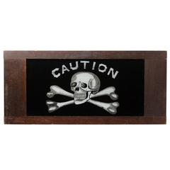 Reverse-Painted Glass Caution Sign with Skull, circa 1880s
