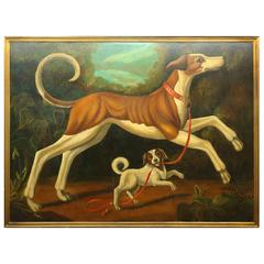 Enormous William Skilling Oil of Dogs