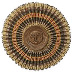 Rare Maria Kipp Carved Teak & Woven Textile Sunburst Wall Decoration, circa 1960