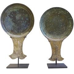 15th Century Pair of Bronze Mirror Backs, Cambodia