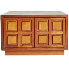 Cherrywood Side Cabinet with Carved Square Relief Panels, circa 1960
