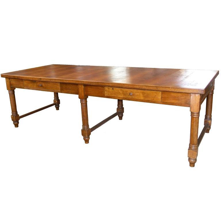 large 19th century italian walnut farm table for sale at