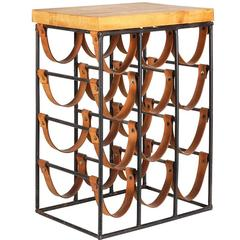 Iron and Leather Wine Rack with Butcher Block Top by Arthur Umanoff, circa 1960