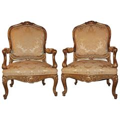 Pristine Pair of Museum Quality 19th Century French Giltwood Armchairs