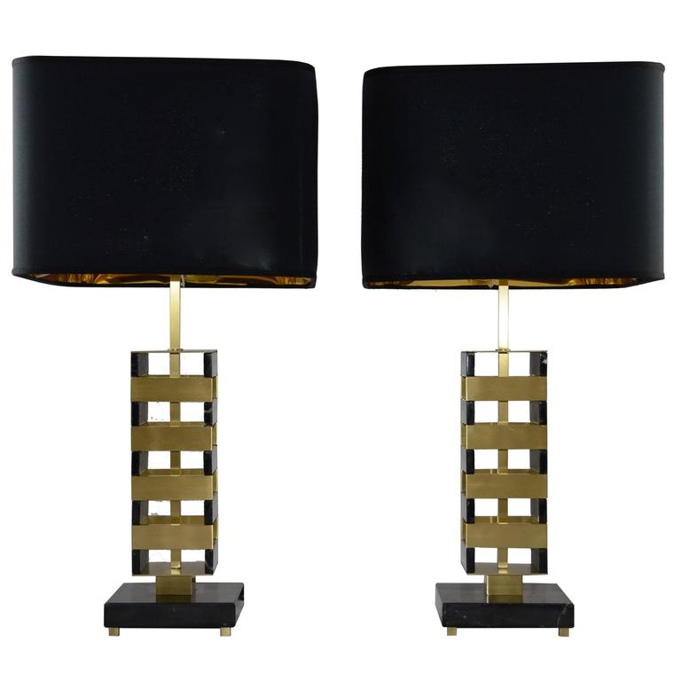 Pair of Marble and Brass Table Lamps