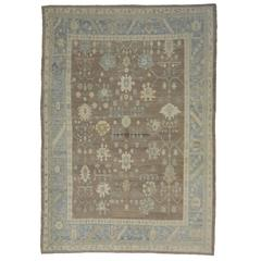 Modern Turkish Oushak Rug with Transitional Style in Neutral Colors