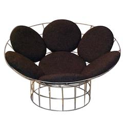 Danish Circular grey Peacock Lounge Chair by Verner Panton for Plus-Linje, 1960s