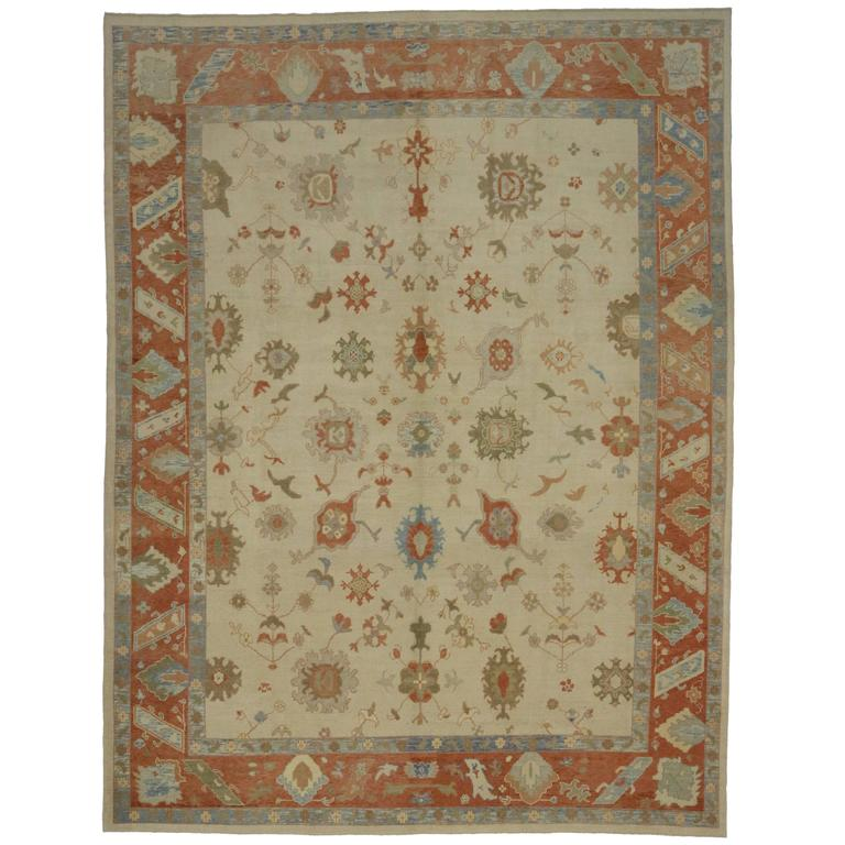 Modern Turkish Oushak Rug with Transitional Style in Orange and Blue For Sale