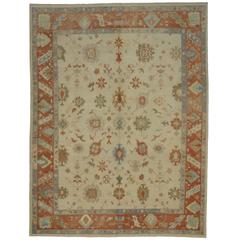Modern Turkish Oushak Rug with Transitional Style in Orange and Blue