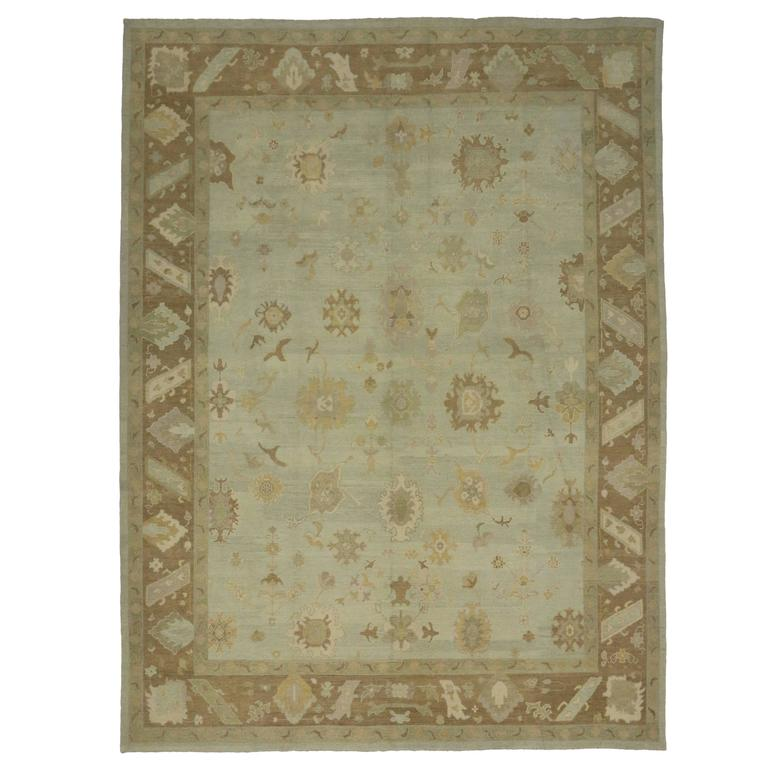Modern Turkish Oushak Rug with Transitional Style in Neutral Colors For Sale