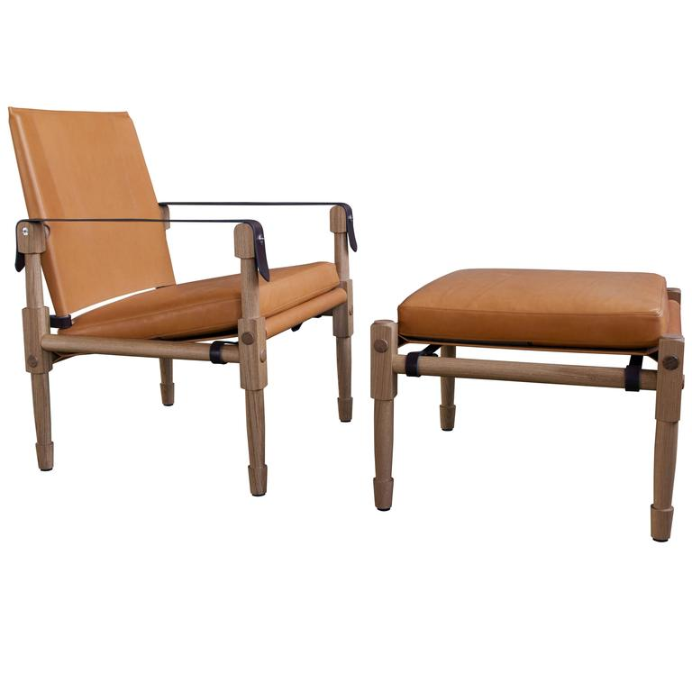 Large Chatwin Lounge Chair in Oiled White Oak and Leather Upholstery
