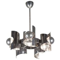 Stainless Steel Six-Arm Chandelier, French, 1960s