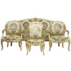 Fine 19th Century Five-Piece Gilt Salon Living Room Suite
