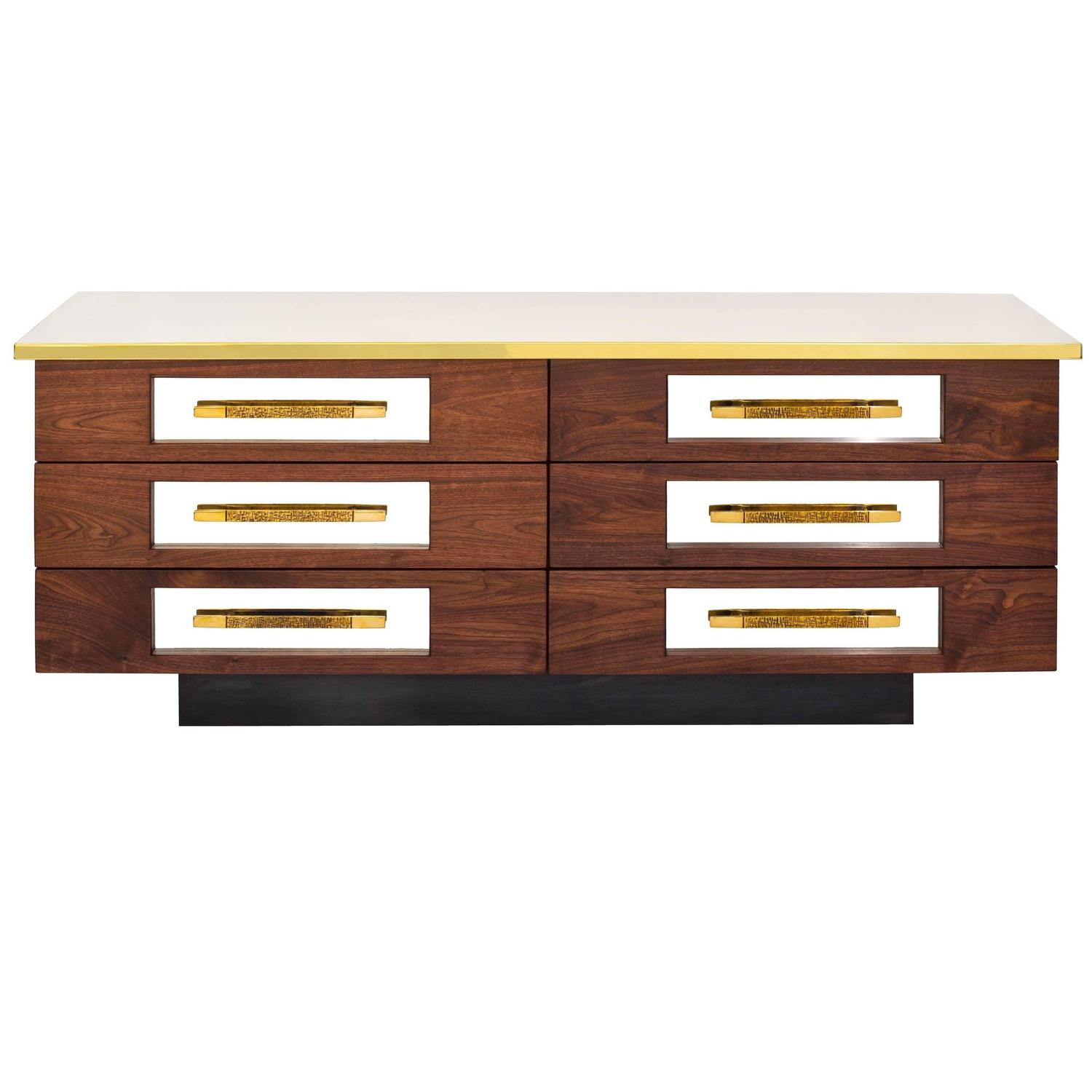 Hand-Crafted Walnut Brass, Stainless and Steel Sideboard by Bret ...