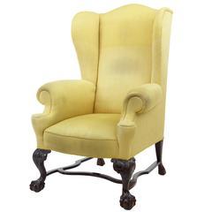 Late 19th Century Mahogany Wing Back Armchair