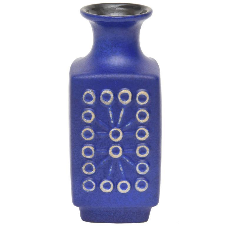 Mid-Century Modernist Blue Ceramic Glazed Vase, Vessel or Object
