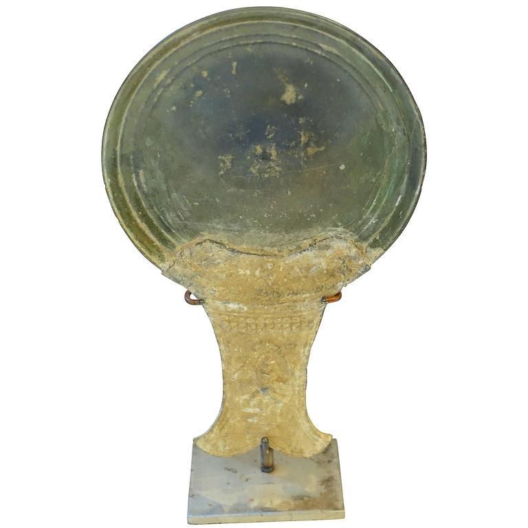 15th Century Bronze Mirror Back, Cambodia For Sale