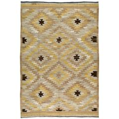 Modern Turkish Kilim Flat-Weave Rug