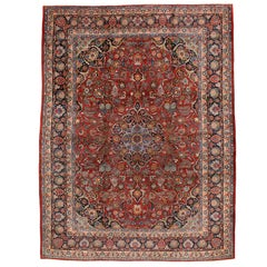 Mid-20th Century Handmade Persian Kashan 9' x 12' Room Size Rug in Red and Navy