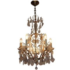 Wonderful French Crystal and gilt Brass Chandelier, France, circa 1960s
