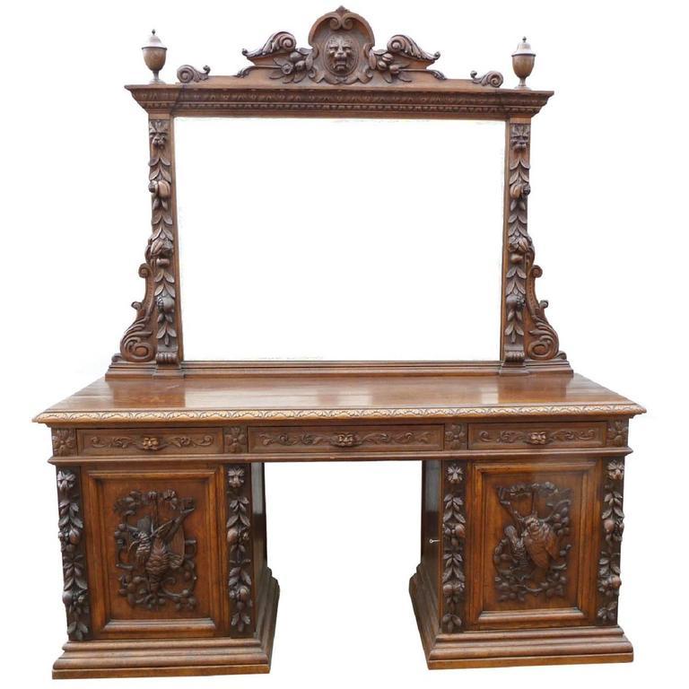 19th Century Carved Oak Mirror Back Sideboard