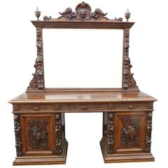 19th Century Carved Oak Mirror Back Sideboard