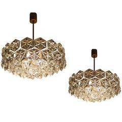 Pair of Large Kinkeldey Chandelier Royal Hexagonal Crystal and Gilt Brass, 1960s