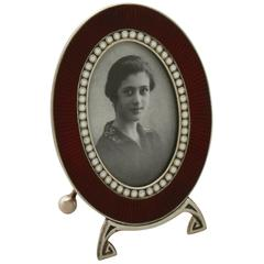 Norwegian Silver and Enamel Photograph Frame, 1910s