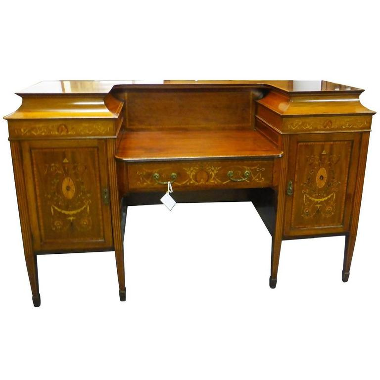 19th Century Mahogany and Marquetry Inlaid Sideboard