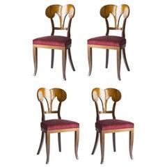Set of Four Seats Biedermeier Style Castellarin