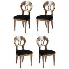 Set of 4 Seats Biedermeier Style Briarwood