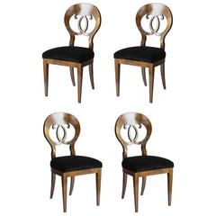 Set of Four Seats Biedermeier Biarwood