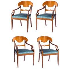 Set of Four Seats Biedermeier Style Berlino