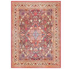 Beautiful Antique Persian Kashan Dabir Rug