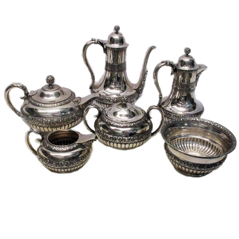 Sterling Silver Six Piece Tea And Coffee Service Circa 1870
