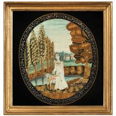 "Excellent Schoolgirl Silk Embroidery, ""a Favorite Lamb,"" Pennsylvania, 1823"