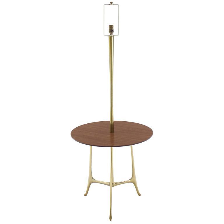 Mid Century Modern Sculptural Tri Leg Base Cast Metal Base Table Floor Lamp