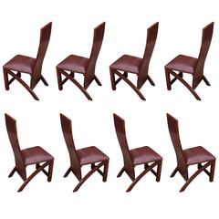 Set of Eight Rosewood Post Modern Custom Dining Chairs with Leather Cushion