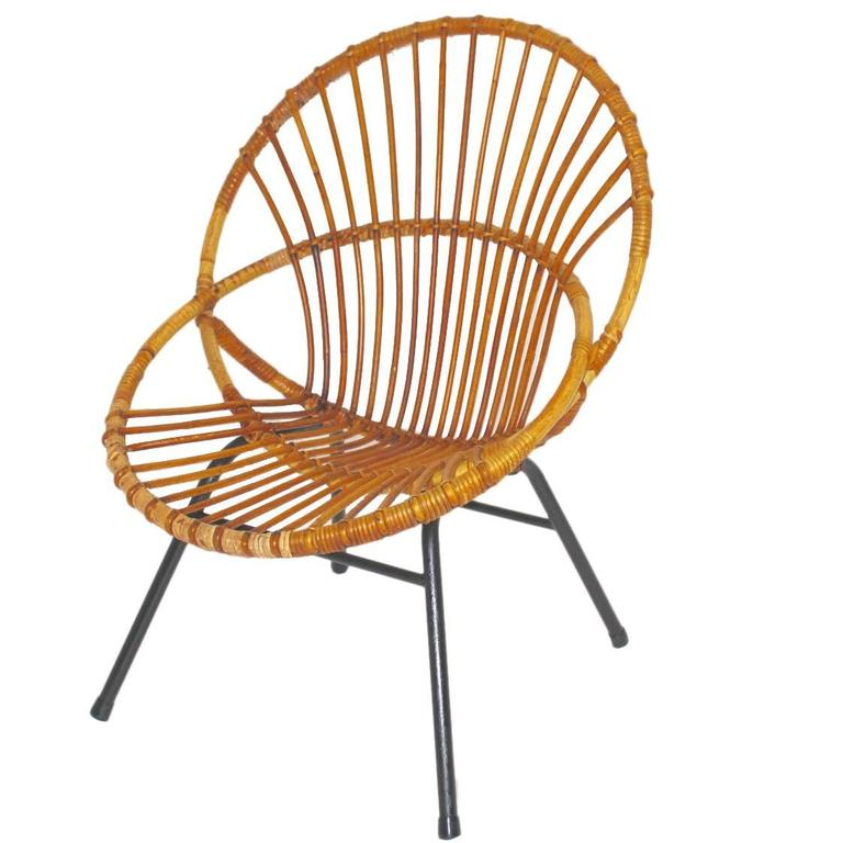 Mid Century Modern Vintage Rattan Chair By Rohe Noordwolde Netherlands,  1960s For Sale