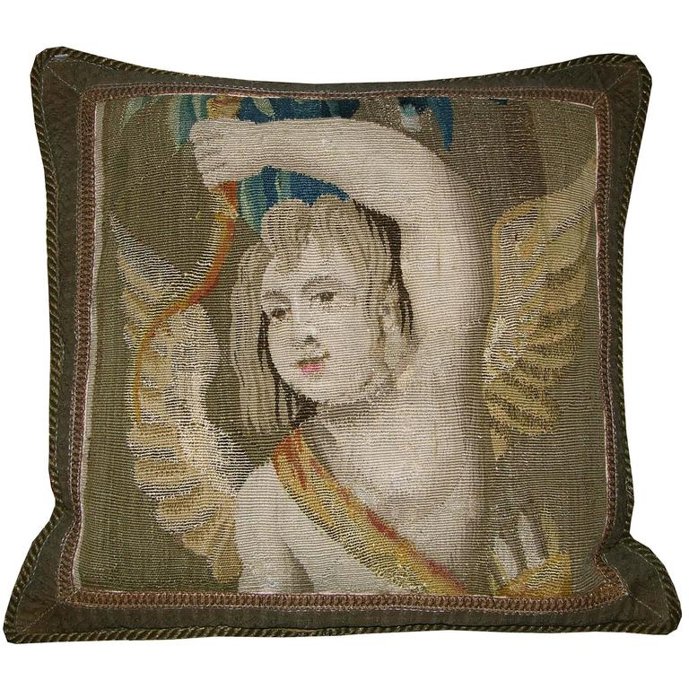 Antique Flemish Tapestry Pillow, circa 17th Century 1